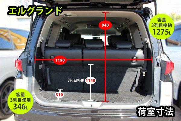 エルグランドの荷室寸法。3列目使用時は容量346L、3列目格納時は容量1275L